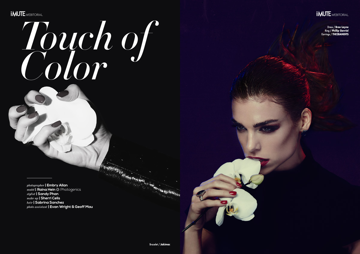 Touch of Color webitorial for iMute Magazine Photographer / Embry Allan Model / Raina Hein @ Photogenics Stylist / Sandy Phan