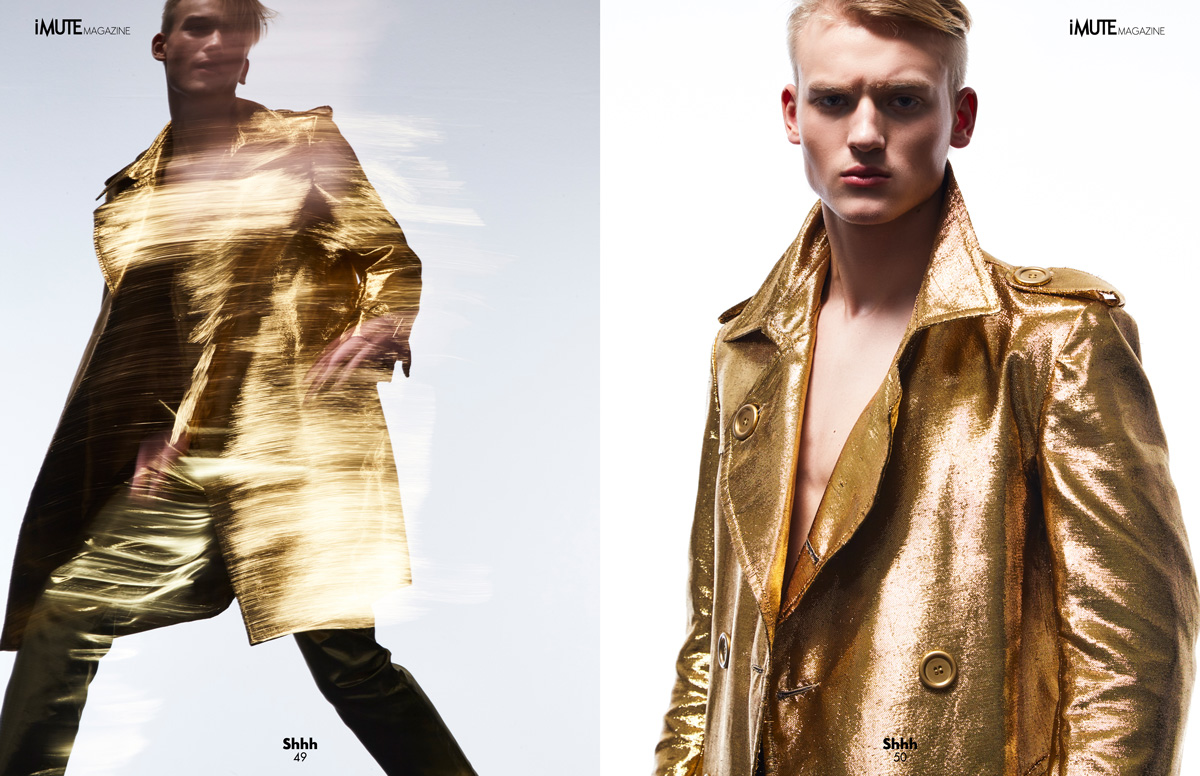 MIDAS TOUCH – COVER STORY SPRING ISSUE #14 Photographer / M Domkus Model / Sergei Starenkov @ Next Models London Designer & Stylist / Nuno Lopes De Oliveira Grooming / Yun Jin Kim Studio / Spring Studios London