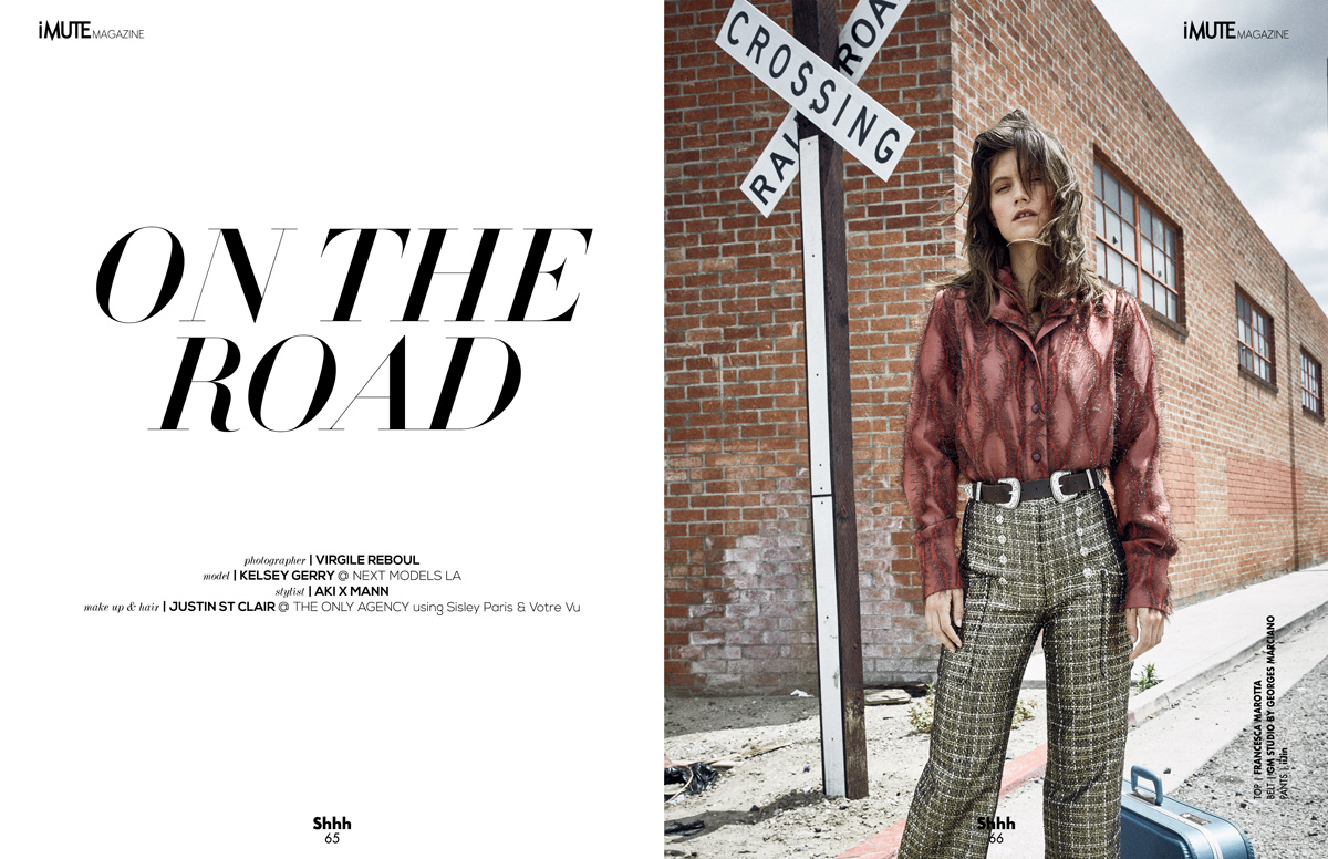 ON THE ROAD – COVER STORY SUMMER ISSUE #15 Photographer / Virgile Reboul Model / Kelsey Gerry @ Next Models LA Stylist / Aki X Mann Make up & Hair / Justin St Clair @ The Only Agency using Sisley Paris and Votre Vu
