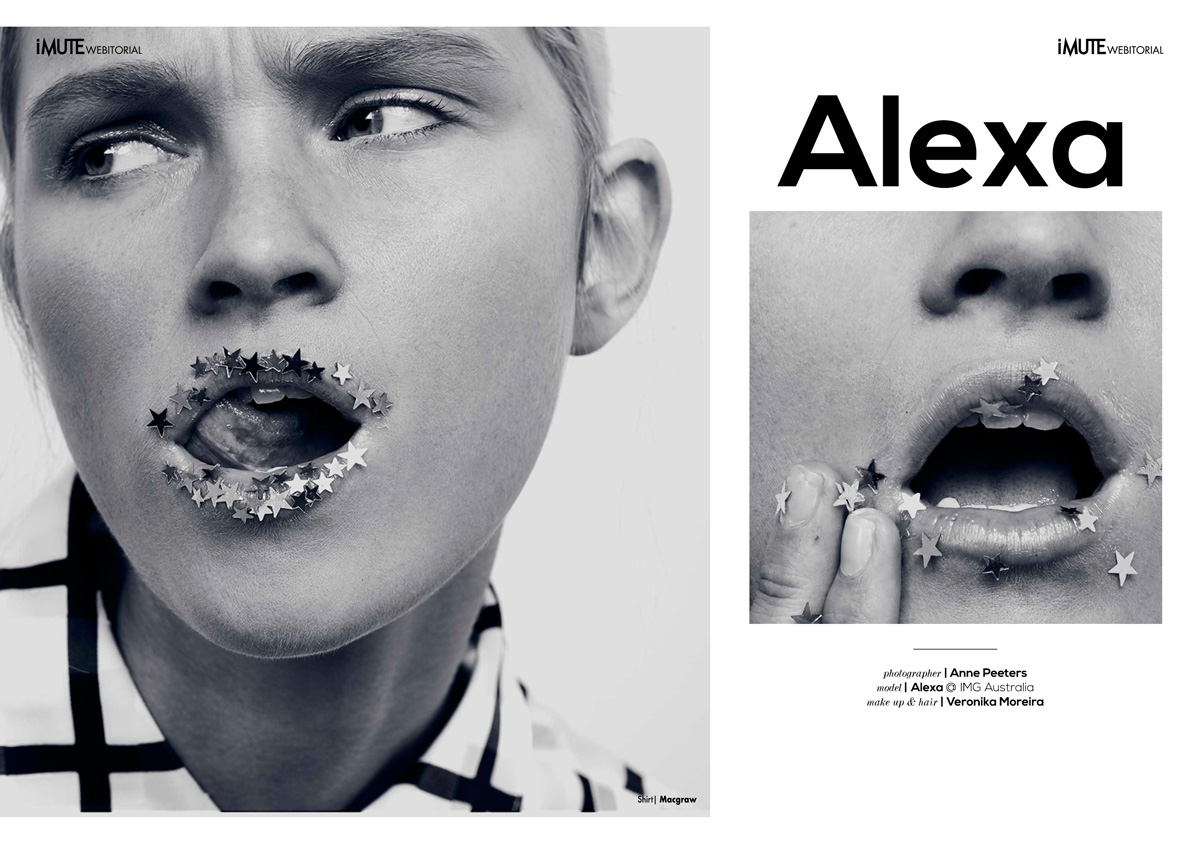 Alexa webitorial for iMute Magazine Photographer / Anne Peeters Model / Alexa @ IMG Australia Make up & Hair / Veronika Moreira