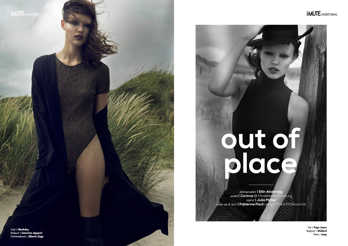 out of place webitorial for iMute Magazine Photographer / Ellin Anderegg Model / Corinna @ Modelwerk Hamburg Stylist / Julia Müller Make up & Hair / Fabienne Pauli using L'Oréal Professionel