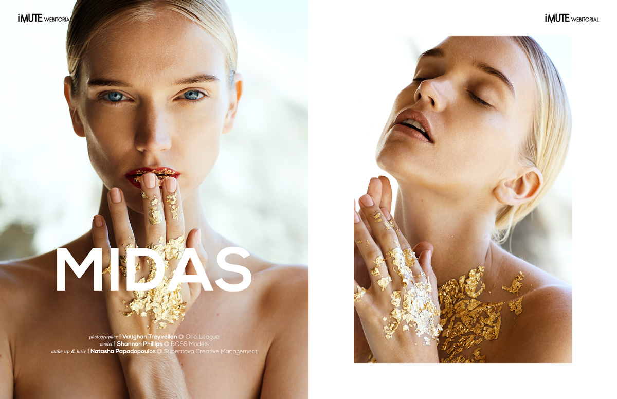 Midas webitorial for iMute Magazine Photographer / Vaughan Treyvellan @ One League Model / Shannon Phillips @ Boss Models Make up & Hair / Natasha Papadopoulos @ Supernova Creative Management