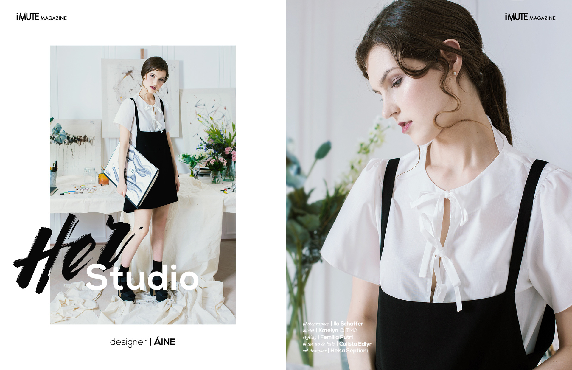 Her Studio advertorial for iMute Magazine Designer | ÁINE Photographer | Ila Schaffer Model | Katelyn @ TMA Stylist | Femilia Putri Make up & Hair | Calista Edlyn Set Designer | Helsa Sepfiani
