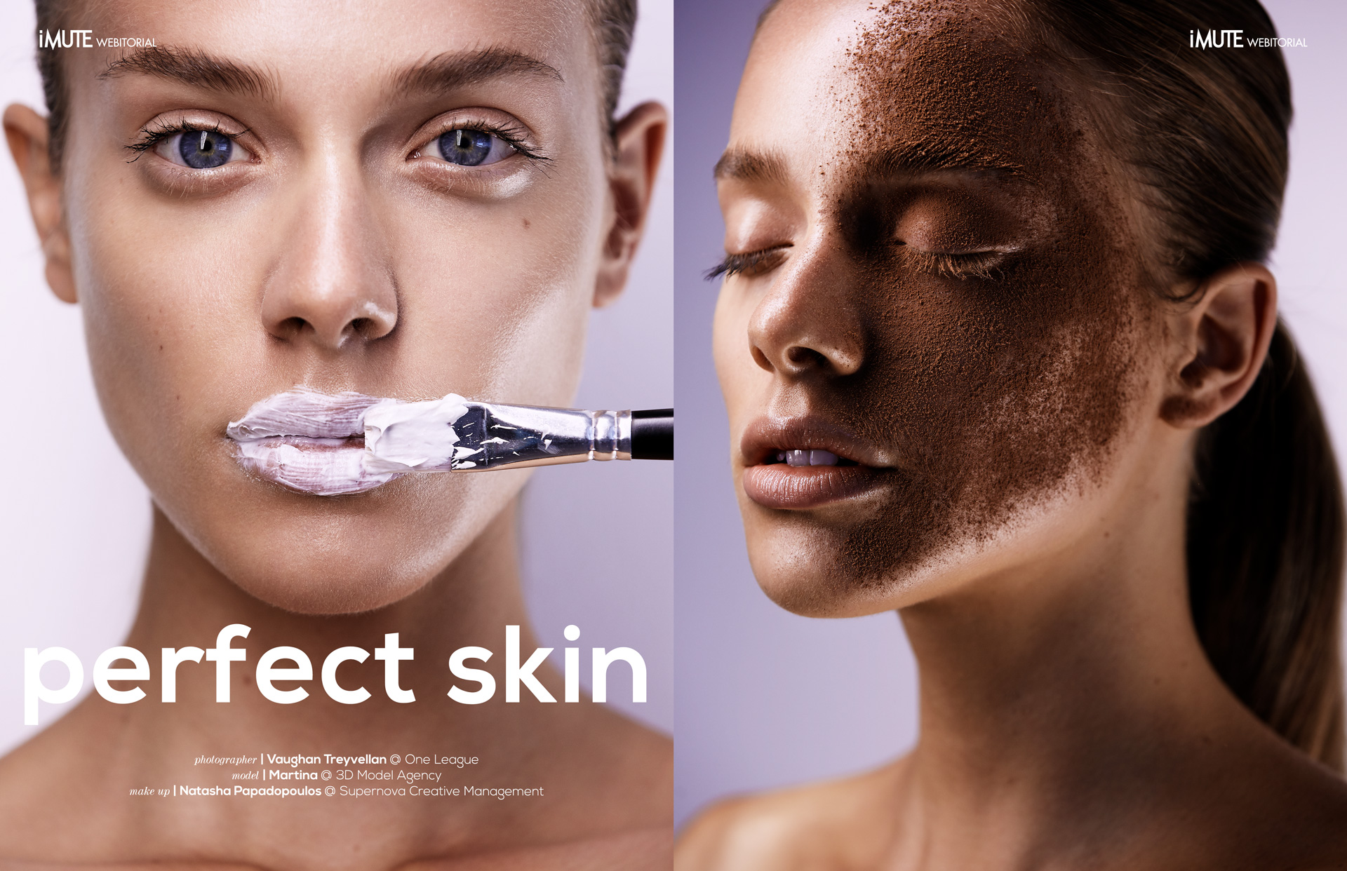 perfect skin webitorial for iMute Magazine Photographer | Vaughan Treyvellan @ One League Model | Martina @ 3D Model Agency Make up | Natasha Papadopoulos @ Supernova Creative Management