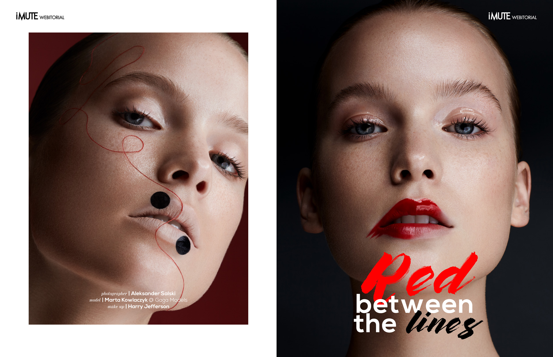 Red between the lines webitorial for iMute Magazine Photographer | Aleksander Salski Model | Marta Kowlaczyk @ Gaga Models Make up | Harry Jefferson