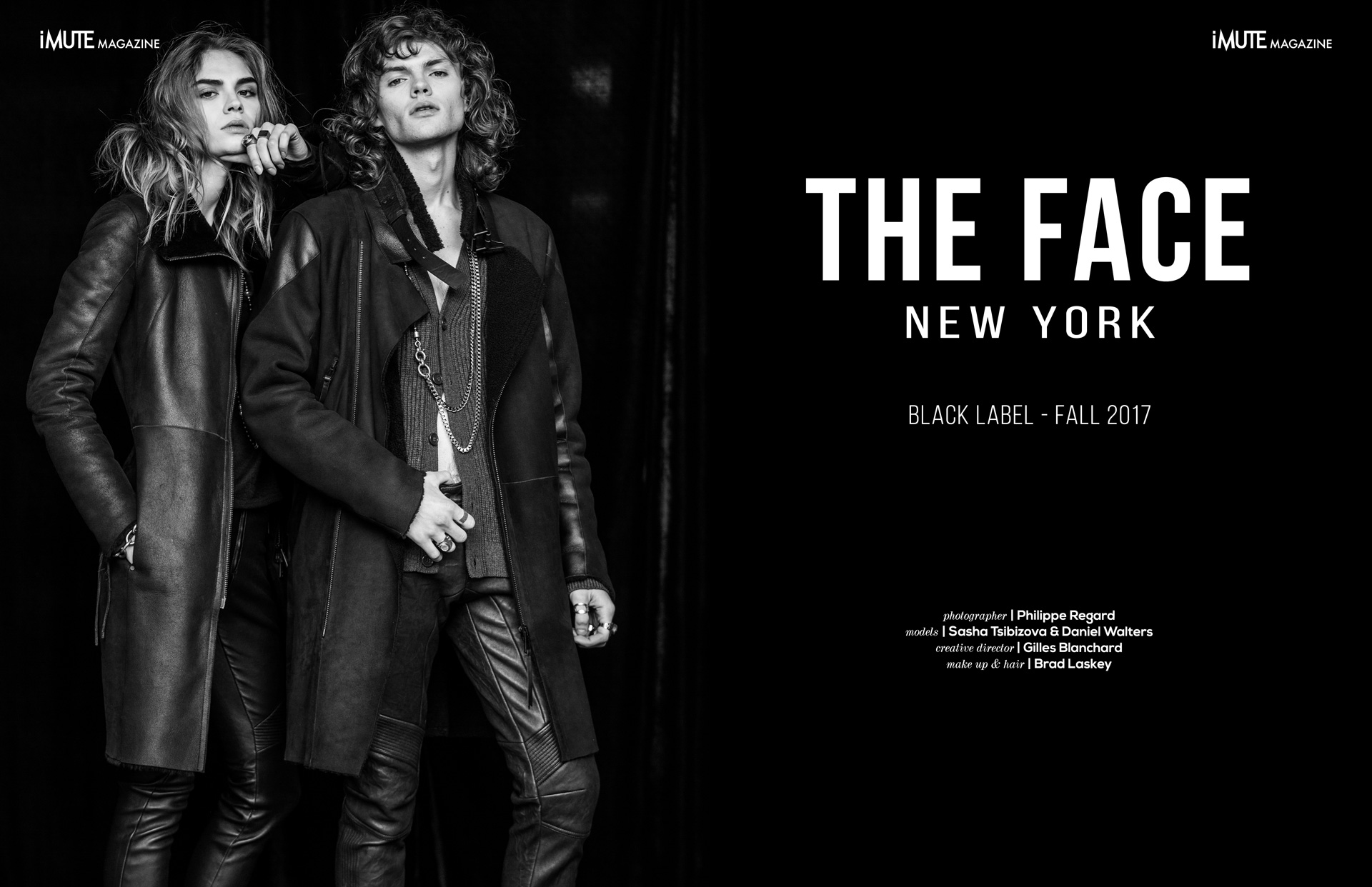 THE FACE New York - Fall 2017 for iMute Magazine Photographer | Philippe Regard Models | Sasha Tsibizova & Daniel Walters Creative Director | Gilles Blanchard Makeup & Hair | Brad Laskey