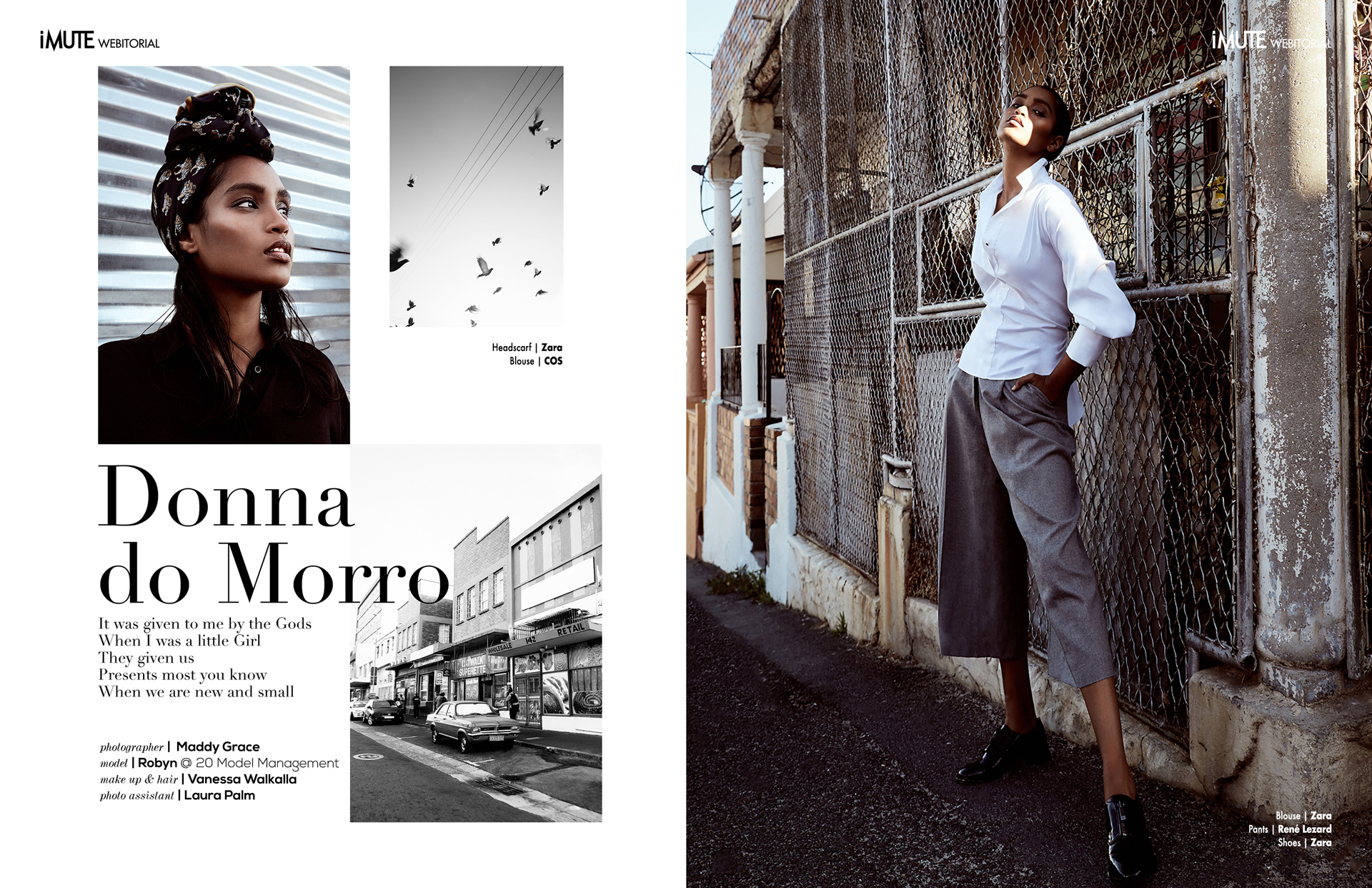 DONNA DO MORRO webitorial for iMute Magazine Photographer| Maddy Grace Model| Robyn @ 20 Model Management Makeup & Hair | Vanessa Walkalla Photo Assistant | Laura Palm