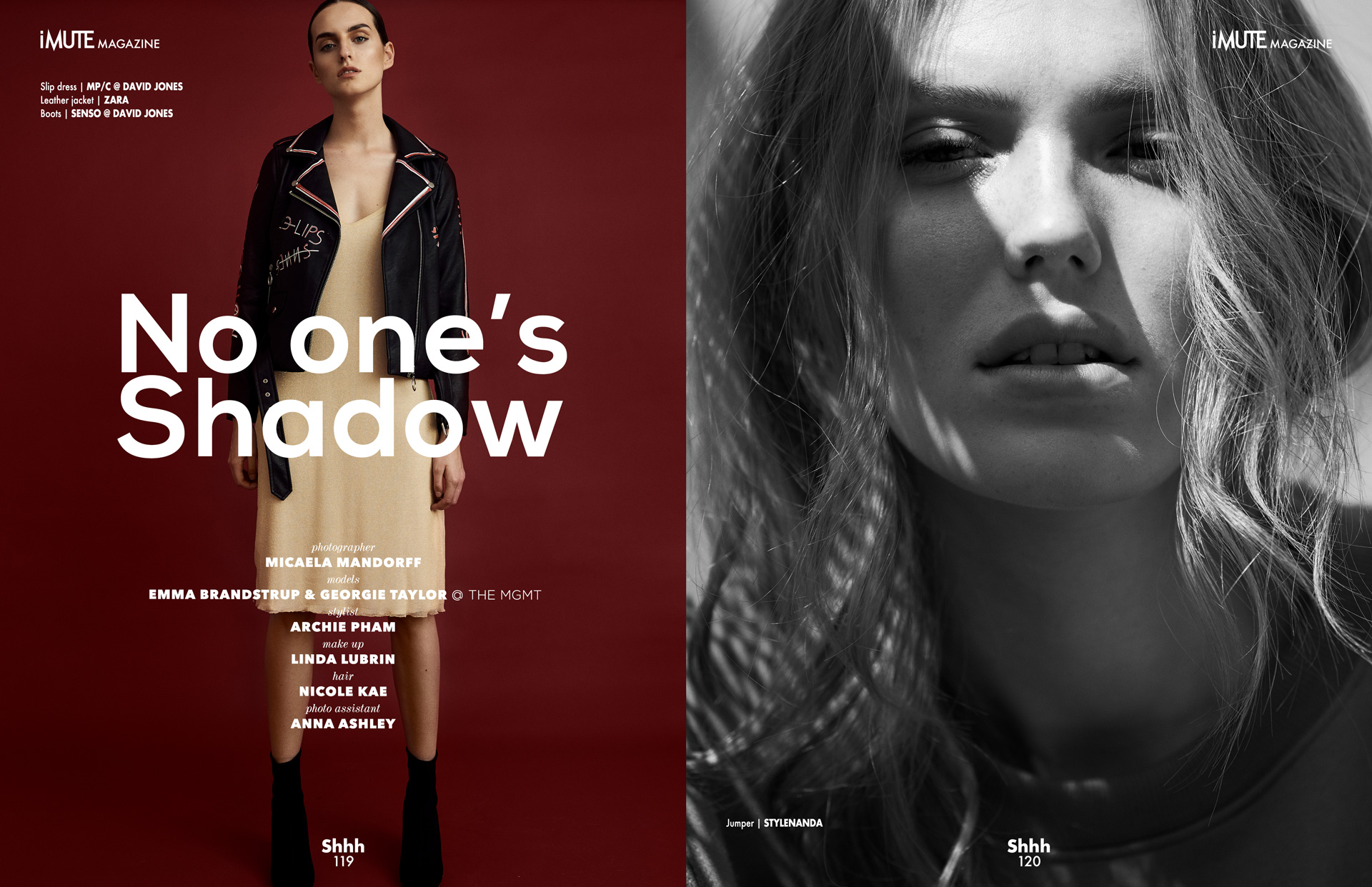 No one's Shadow editorial for iMute Magazine #18 Spring Issue Photographer | Micaela Mandorff Models | Georgie Taylor & Emma Brandstrup @ The Mgmt Stylist | Archie Pham Makeup | Linda Lubrin Hair | Nicole Kae Photo Assistant | Anna Ashley