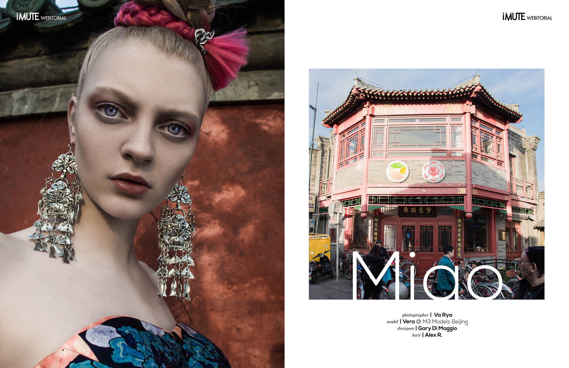 Miao webitorial for iMute Magazine Photographer | Va Rya Model | Vera @ M3 Models Beijing Designer |  Gary Di Maggio Hair | Alex R.