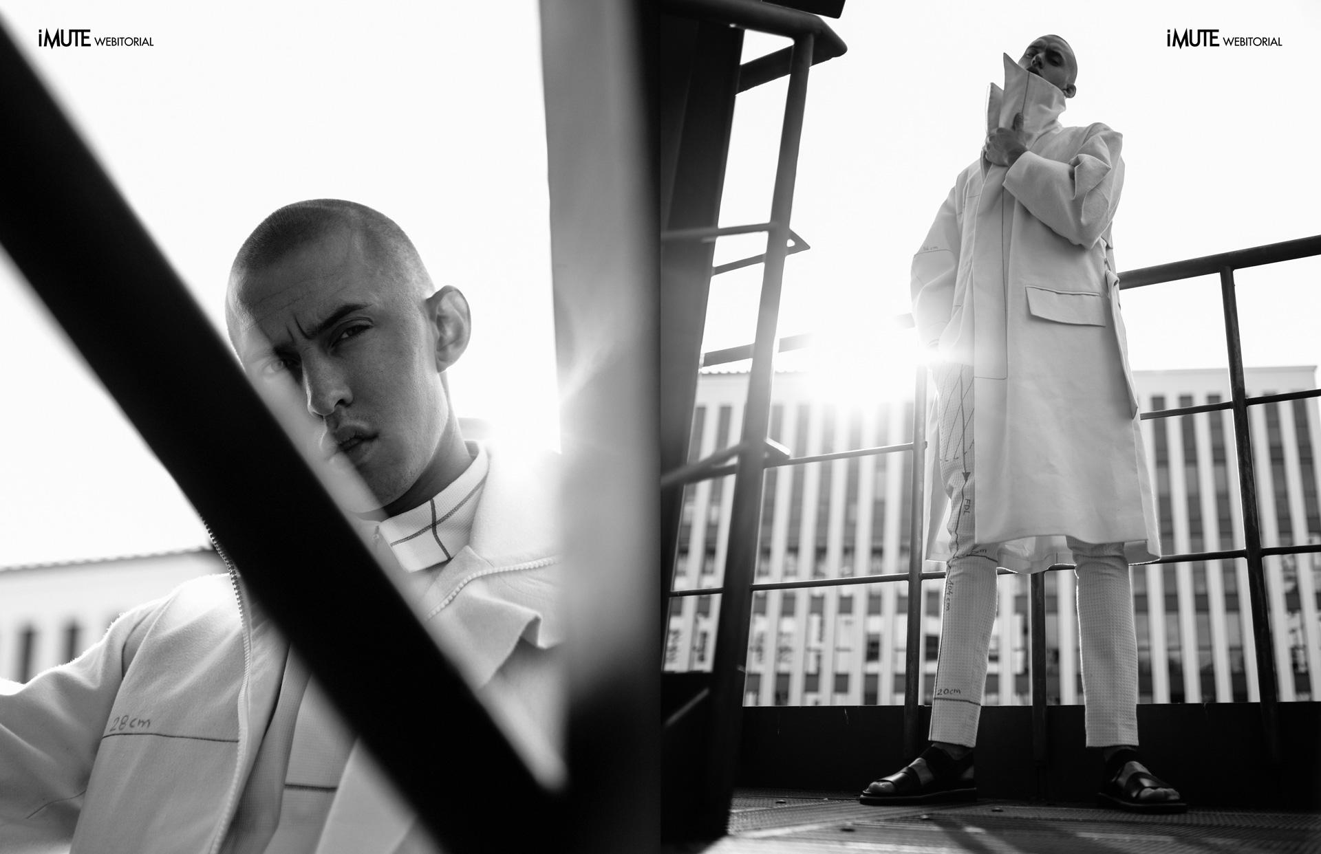 dark matters:pattern coat:side street webitorial for iMute Magazine Designer  Ivan Man Berlin Photographer Dascha Photography Model  Leon Beitz @CORE Management
