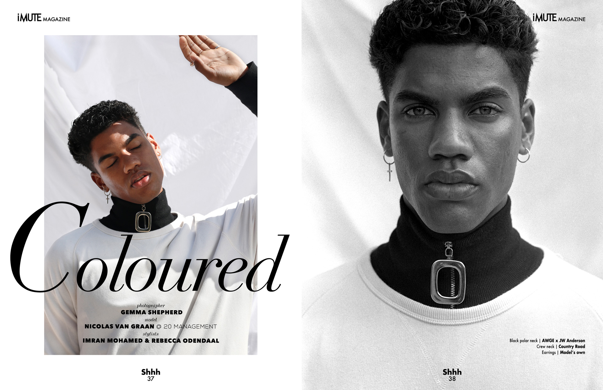 Coloured | Cover story iMute Magazine Fall Issue no 20 Photographer | Gemma Shepherd Model | Nicolas Van Graan @ 20 Management Stylists | Imran Mohamed & Rebecca Odendaal
