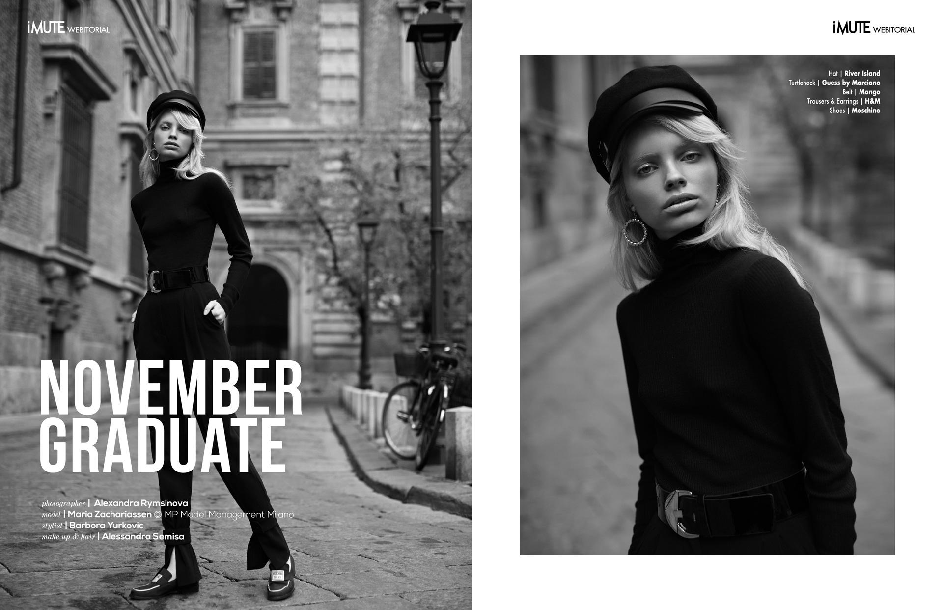 November Graduate webitorial for iMute Magazine Photographer Alexandra Rymsinova Model  Maria Zachariassen @MP Model Management Milano Stylist Barbora Yurkovic Makeup & Hair Alessandra Semisa