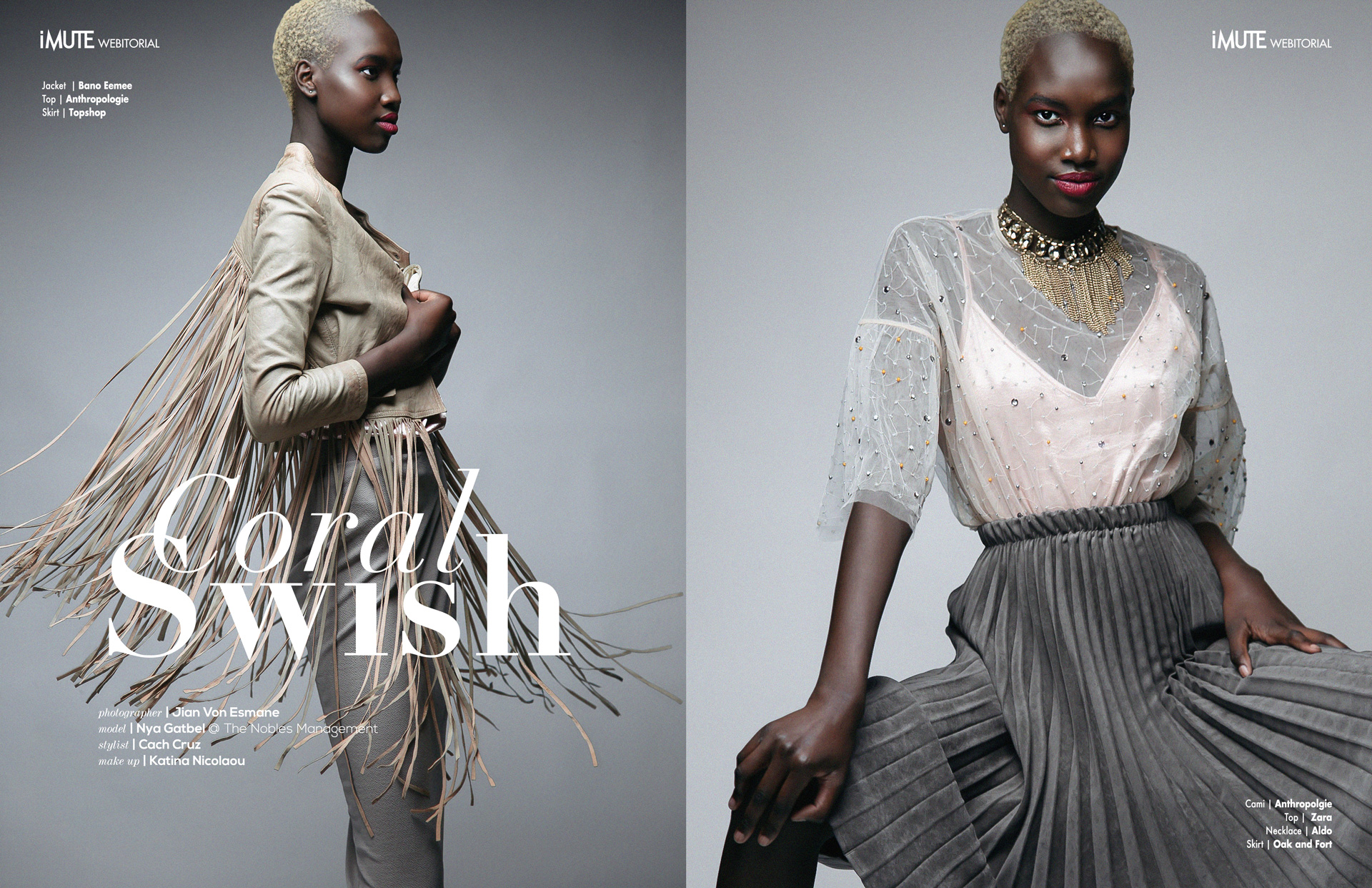 Coral Swish webitorial for iMute Magazine Photographer Jian Von Esmane Model  Nya Gatbel @The Nobles Management Stylist  Cach Cruz Makeup  Katina Nicolaou