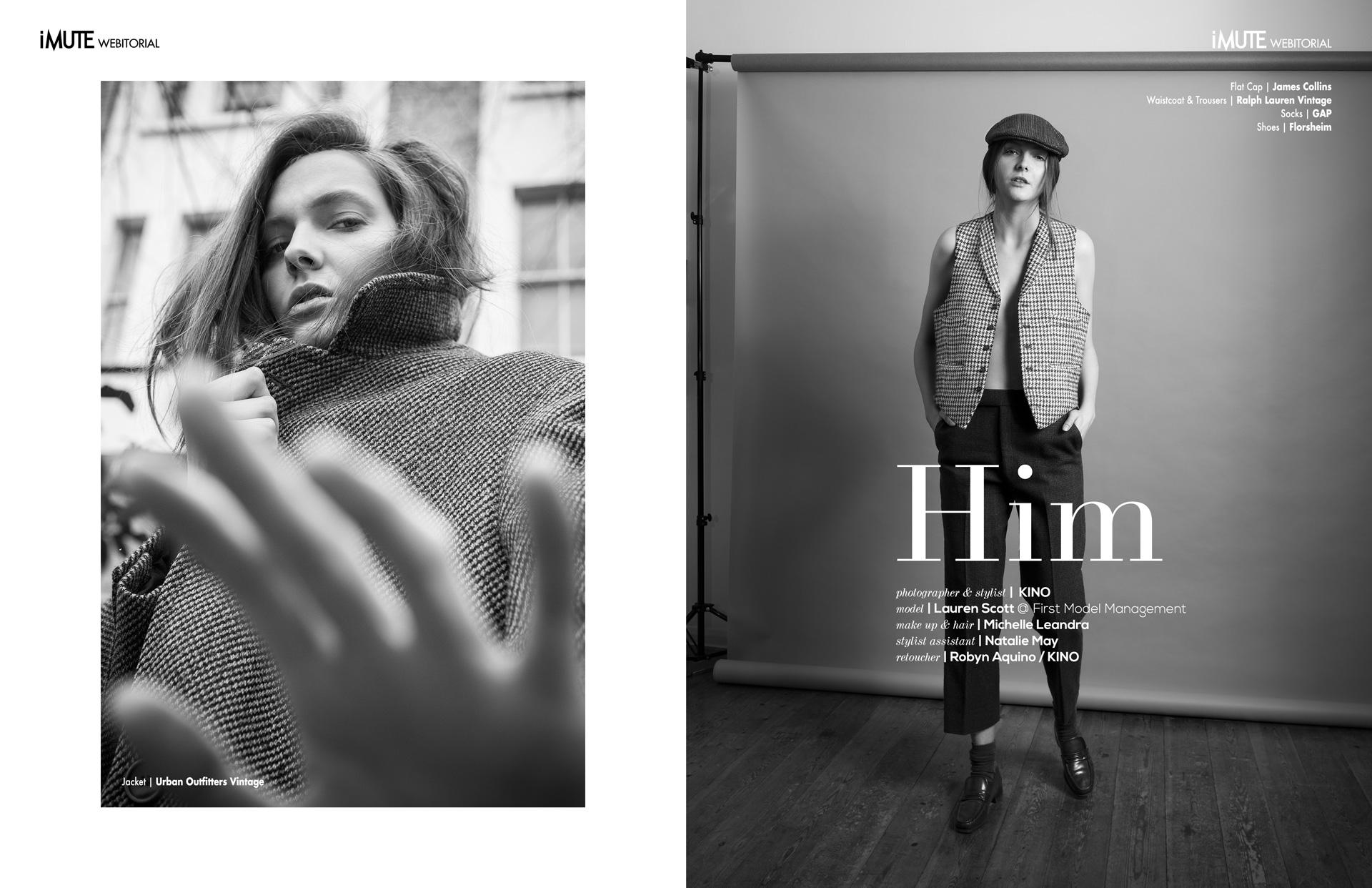 HIM webitorial for iMute Magazine Photographer & Stylist|KINO Model| Lauren Scott @First Model Management Makeup & Hair|Michelle Leandra Stylist Assistant|Natalie May Retoucher|Robyn Aquino / KINO