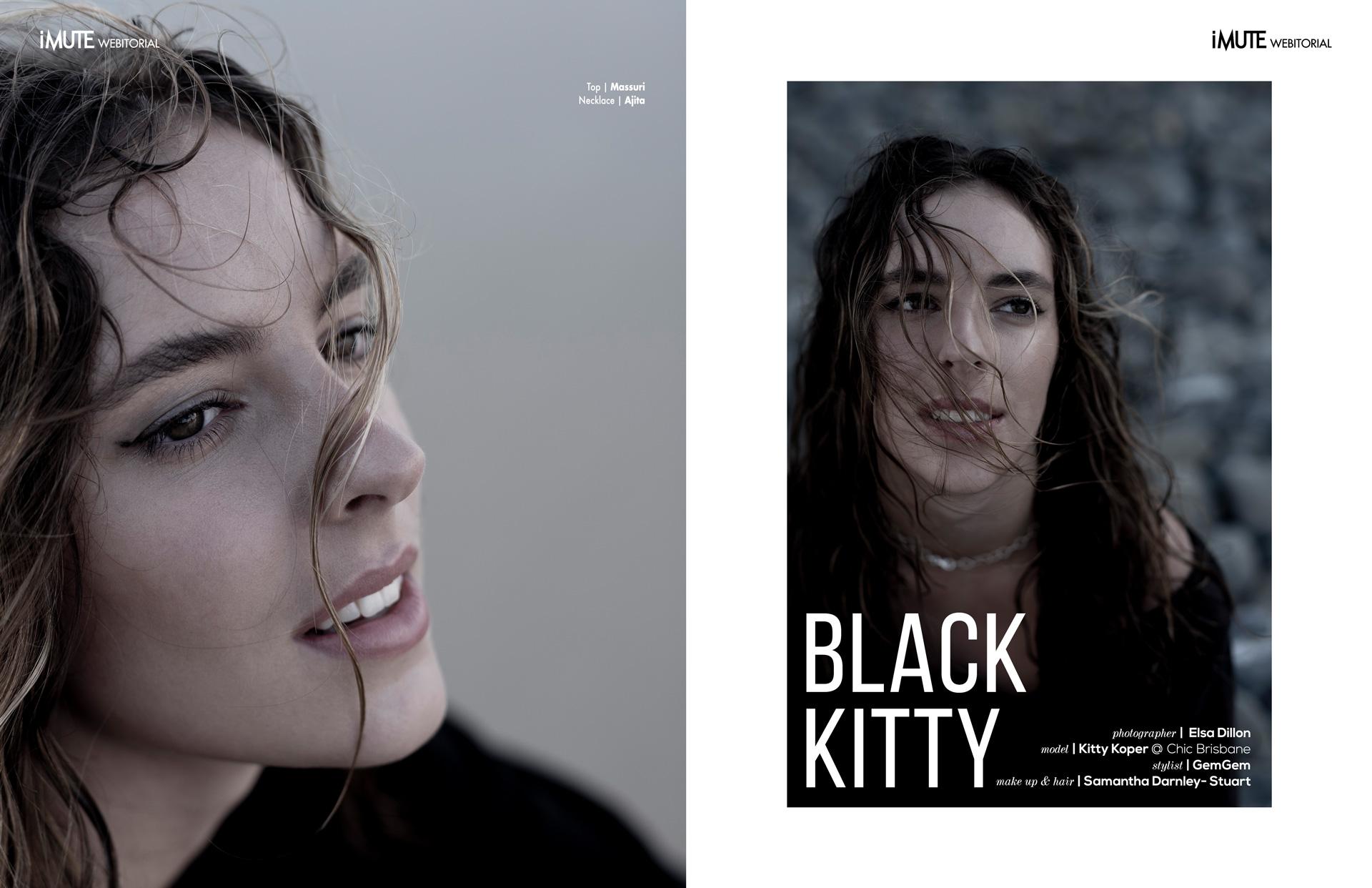 BLACK KITTY webitorial for iMute Magazine Photographer|Elsa Dillon Model| Kitty Koper @Chic Brisbane Stylist|GemGem Makeup & Hair|Samantha Darnley-Stuart