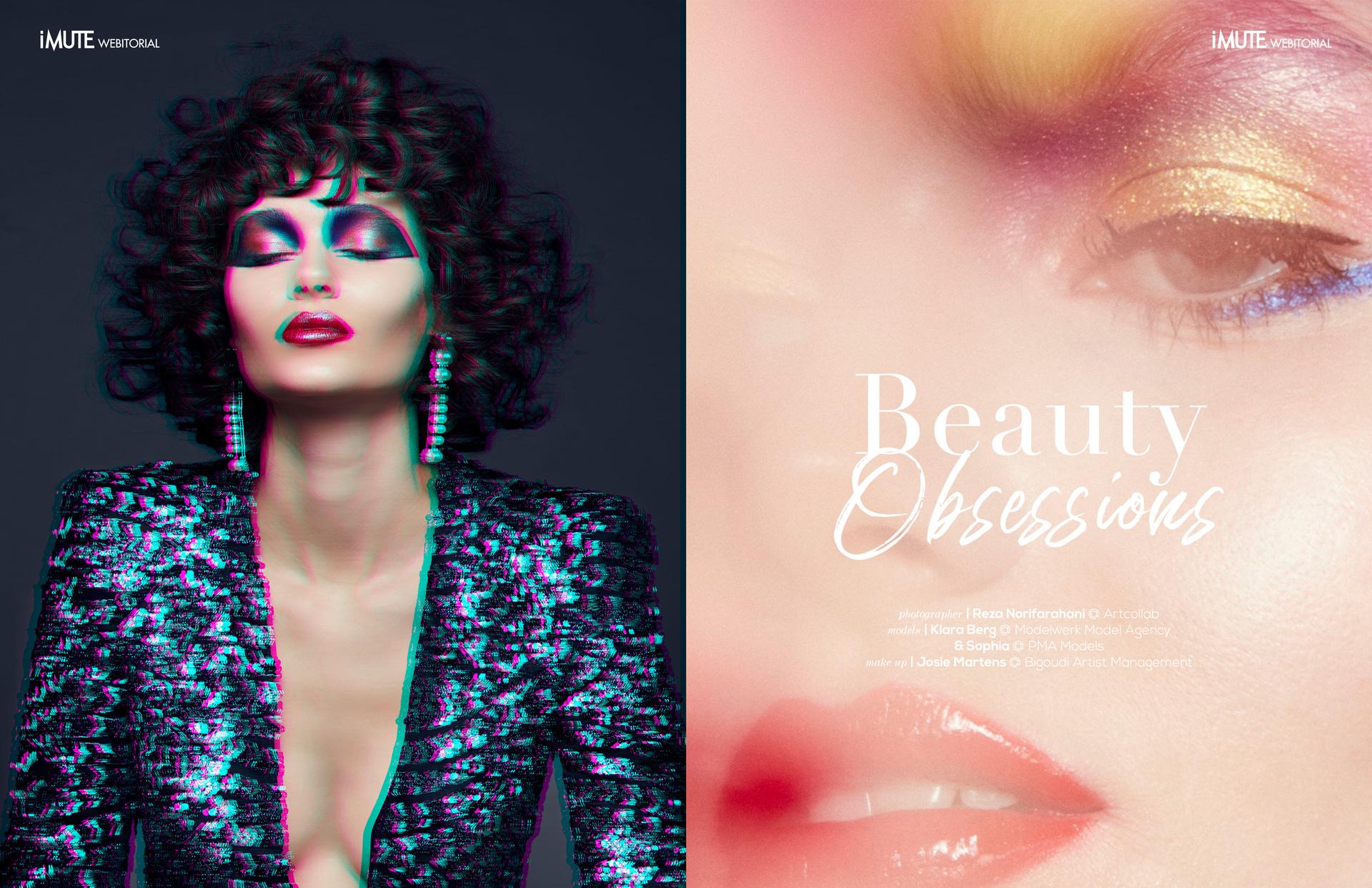 Beauty Obsessions webitorial for iMute Magazine Photographer & Video|Reza Norifarahani @ Artcollab Models| Klara Berg @Modelwerk Model Agency & Sophia @PMA Models Makeup|Josie Martens @ Bigoudi Artist Management