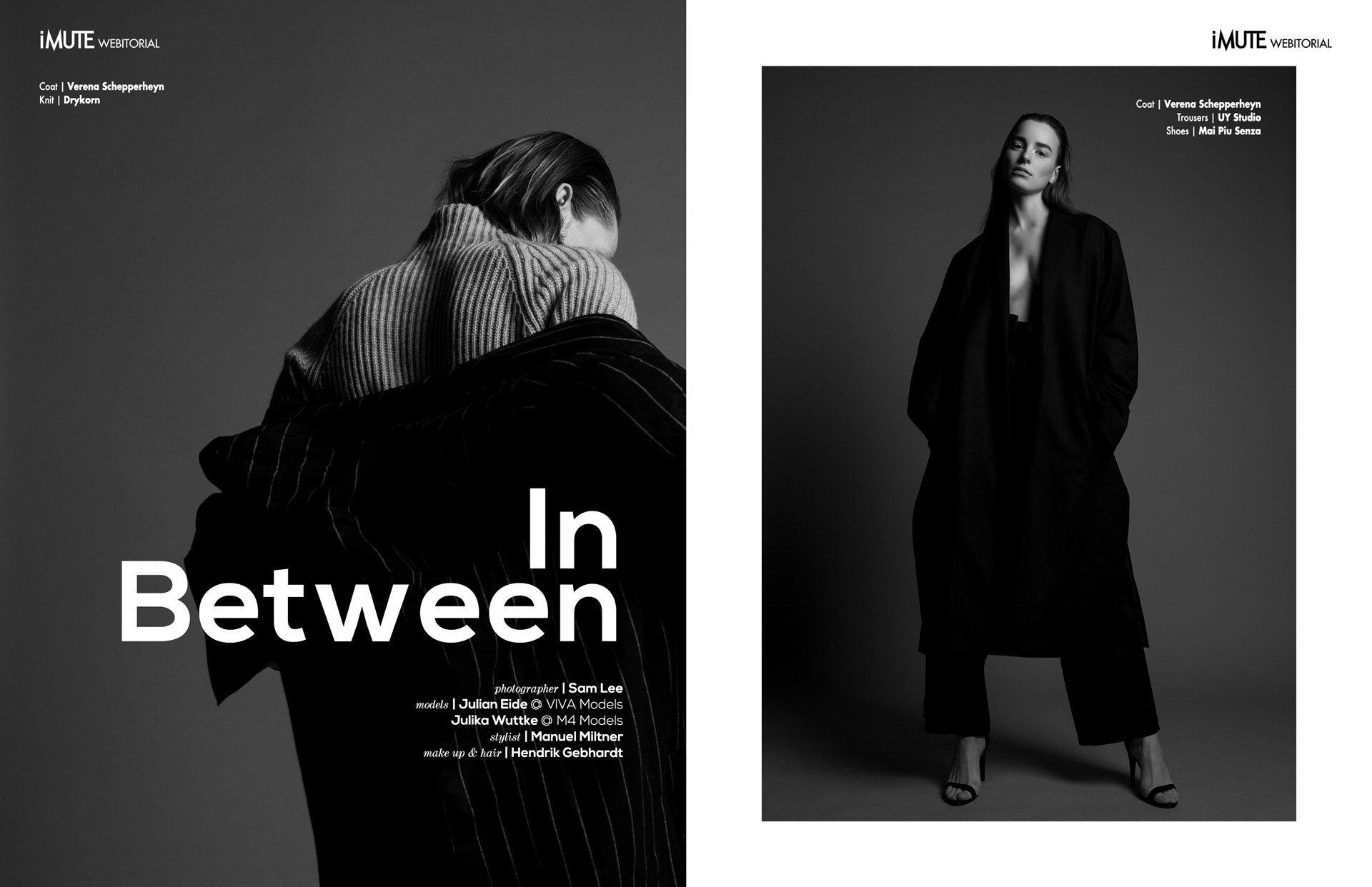 In Between webitorial for iMute Magazine Photographer | Sam Lee Models | Julian Eide @ VIVA Models & Julika Wuttke @ M4 Models Stylist | Manuel Miltner Makeup & Hair | Hendrik Gebhardt