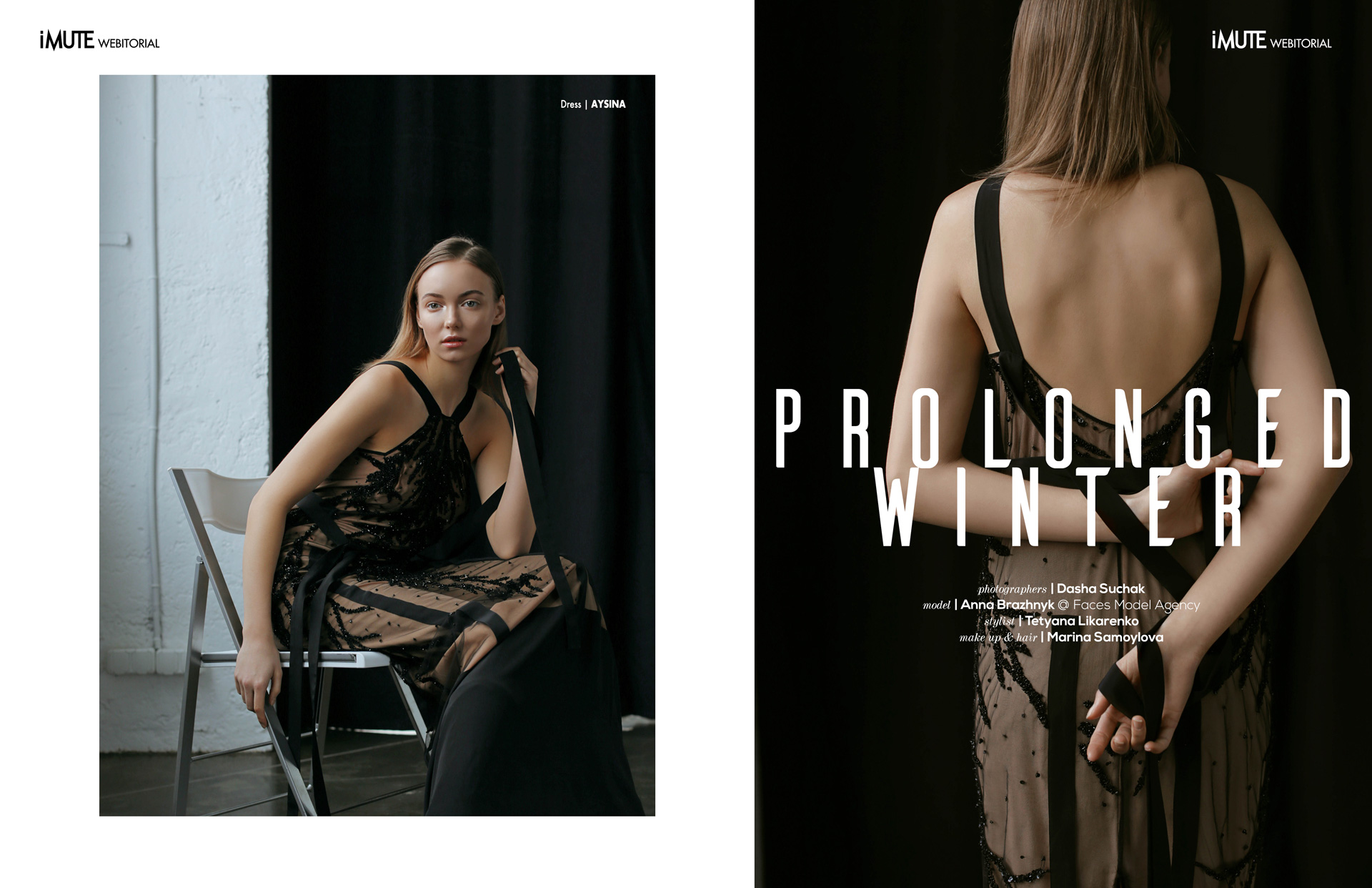 Prolonged winter webitorial for iMute Magazine Photographer | Dasha Suchak Model | Anna Brazhnyk @ Faces Model Management Stylist | Tetyana Likarenko Makeup & Hair | Marina Samoylova