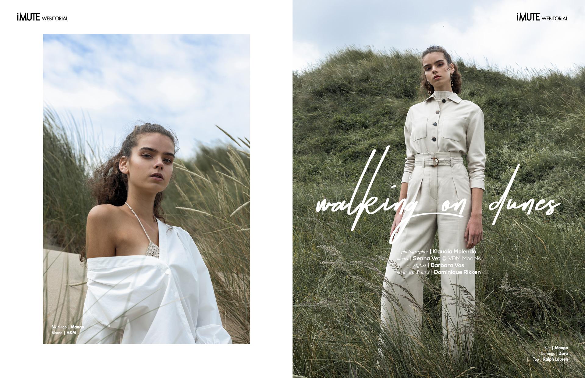 Walking on dunes webitorial for iMute Magazine  Photographer|Klaudia Molenda Model| Senna Vet @VDM Models Stylist|Barbara Vos Makeup & Hair|Dominique Rikken