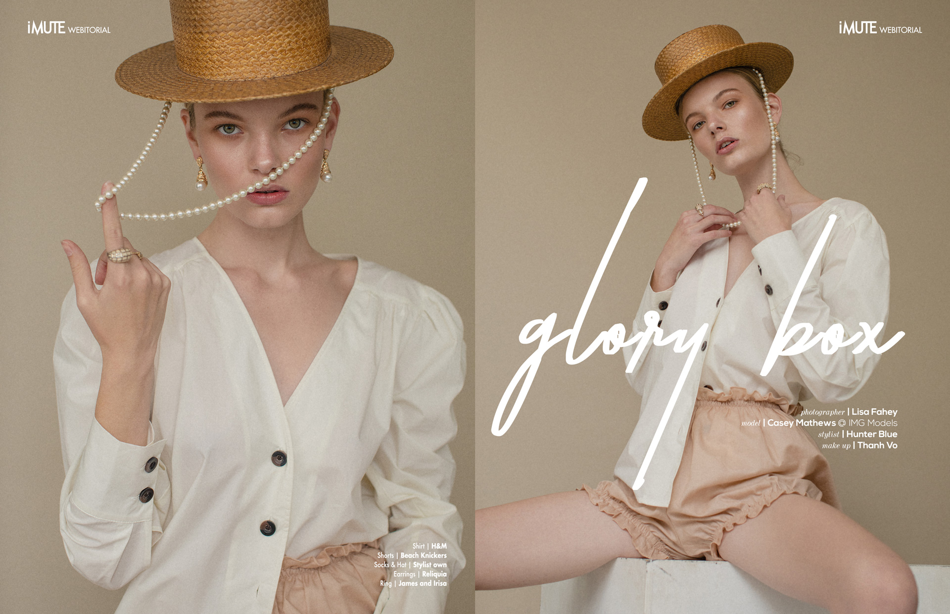 Glory Box webitorial for iMute Magazine Photographer | Lisa Fahey Model | Casey Mathews @ IMG Models Stylist | Hunter Blue Makeup | Thanh Vo